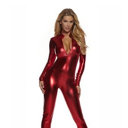 b3a323a515 Sexy Jumpsuits Wet Look UK - New High Quality Sexy Faux Leather PVC Wet  Look Bodysuit