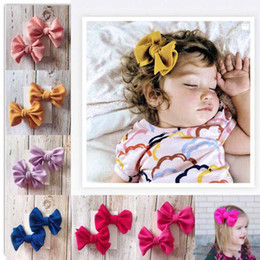 New baby hair online shopping - New Europe Baby Girls Big Bow Hair Clip Kids Bowknot Barrette Set Barrettes Children Hair Accessory