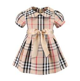 Großhandel Mädchen Plaid Kleider europäische und amerikanische Kinderbekleidung 19ss Sommer neue Kinder Kleid Mädchen Plaid Baumwolle Kleid Prinzessin Kleid