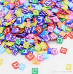 polymer charm wholesale Canada - 250g opp bag 2019 New Wholesale Polymer Alphabet Letters Clay Cane Slices Fimo Slices for Slime Charms Supplies 3D Nail
