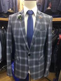 Ternos Slim Fit Suit Australia - Latest design fashion plaid Men Suit Slim Fit 2 Pieces Tuxedo Groom Groomsman men suits for wedding ternos para hombre kingsman blazer sets