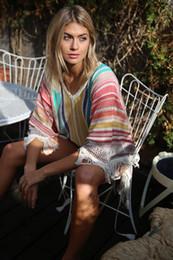 Fringe Swimsuits For Women Australia - Colorful Crochet Beach Cover Up For Women Swimsuit Cover-up Beach Bathing Suit Beach Wear Knitting Tassel Fringe Swimwear Dress