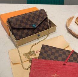 Großhandel 3 Stück / Set Lieblingsmulti Pochette Accessoires Designer Luxus-Handtasche aus echtem Leder L Blume Schulter Umhängetasche Damen Handtasche