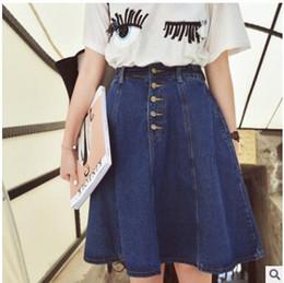 c26f3e91bdd 2019 High Quality Summer Denim Skirts Womens High Waist Plus Size Button  Pockets Jeans Skirt Casual A-line Midi Skirt faldas