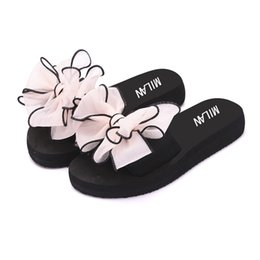 $enCountryForm.capitalKeyWord Australia - Summer new wild bow word drag female flat Korean version of the non-slip casual wear thick bottom beach slippers
