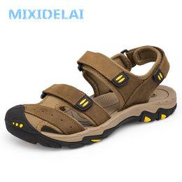 $enCountryForm.capitalKeyWord Australia - MIXIDELAI New Fashion Summer Outdoor Beach Breathable Men Sandals Genuine Leather Men's Sandal Man Causal Shoes Plus Size 39-47