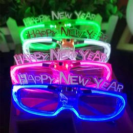 toys buy 2020 - Glowing Glasses Happy Holidays Cold Light Glasses Christmas Gifts Glowing Toy Blue. green. powder. 3 colors welcome to b