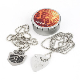 Necklaces Pendants Australia - NAOMI Electric Guitar Pick Necklace Pendant Stainless Steel 60cm 23.6in Ball Chain Metal BOX Guitar Accessories New