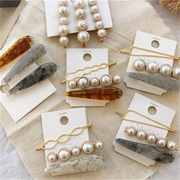 korean girls fashion hair style NZ - Fashion Pearl Bangs Clip Set Ins Korean Style Woman Marble Hairpin Classsic Cute Girl Barrettes Party Hair Accessories LT-TTA1372