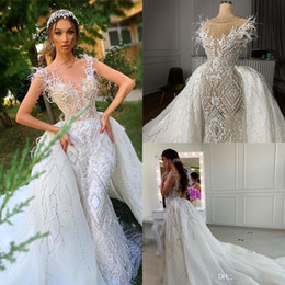 muslim wedding bridal train pictures NZ - Real Pictures Crystal Beaded Mermaid Wedding Dresses With Detachable Train LuxuryAppliqued Feathers Saudi Arabic Dubai Bridal Gown CPH032