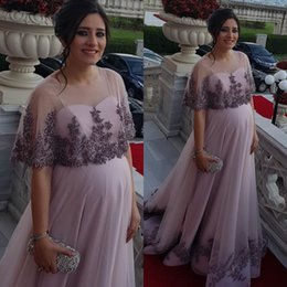 Pink bridesmaid dresses crystals online shopping - 2019 Aso Ebi Arabic Maternity Pregnant Cheap Evening Dresses Lace Beaded Prom Dresses A line Formal Party Second Reception Bridesmaid Gowns