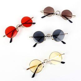 Metal Sunshade Australia - Fashion Kids Round Goggles Girls Candy Color Lens Sun Glasses Metal Frame Sunshade Glasses Boys Travel Eyeglasses TTA1024