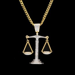 Balance Charms Australia - Iced Out Zircon Balance Libra Scale Pendant Bling Charm White Gold Copper Material Mens Hip hop Pendant Necklace Chain