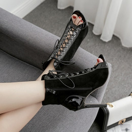 $enCountryForm.capitalKeyWord NZ - Europe and the United States sexy female cool boots 2019 early autumn new fish mouth with super high heels wine red wedding shoes dress sand