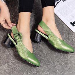 Discount slingback heels - MEMUNIA 2019 New genuine leather women pumps slingback pointed toe high heels office lady dress shoes female