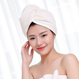 Polyester Hair Australia - Women Quick-dry Super Absorbent Merbau Hair Towel Cap Turban Polyester Cotton Hat Bathroom Soft