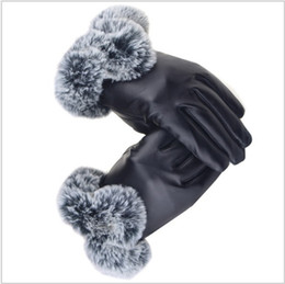 Warm Leather Gloves Ladies Australia - Leather Gloves touch screen Lady women Autumn Winter Thickening Warm Cycling Gloves Ladies Wear Lovely Leather imitation gifts fashion