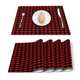 green table placemats Australia - 4 6pcs Set Table Mats Black Red Buffalo Plaid Check Cotton Linen Table Napkin Kitchen Accessories Home Party Decor Placemats T200415