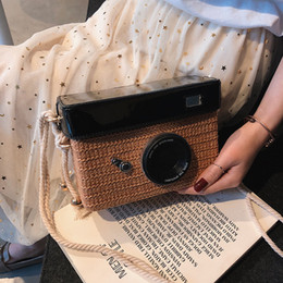 Camera Women Australia - Superior2019 Plaited Straw Article Bag Woman Camera Sandy Beach Tide Hemp Rope Single Shoulder Package All-match Cable