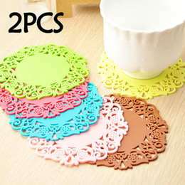 round pink doilies UK - 2Pcs Lot Lace Flower Hollow Doilies Silicone Coaster Coffee Table Cup Mats Pad Placemat Kitchen Accessories Cooking