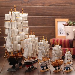 wooden craft decor Canada - Wooden Ship Model Nautical Decor Home Crafts Figurines Miniatures Marine Blue Wooden Sailing Ship Wood Boat Decoration Crafts Y200104