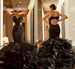 $enCountryForm.capitalKeyWord Australia - 2020 Black Sexy Mermaid Spaghetti Backless Maxi Long Pageant Dresses Prom Dress Formal Evening Gowns Wedding Party Wear Tiers Skirt