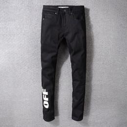 Pantalones vaqueros High Street New Fashion para hombre, negro simple, BLANCO, blanco, con estampado y estiramiento, pantalones 29-40 en venta