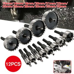 saw set tool Australia - 12PCS HSS Drill Bit Hole Saw Tooth Set Stainless Steel Metal Alloy Cutter 15-50mm Power Tool Accessories