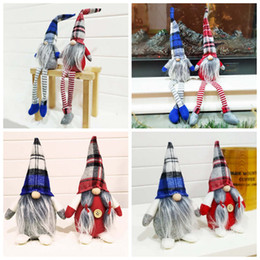 handmade christmas gifts kids NZ - Buffalo Plaid Christmas Dolls Figurines Handmade Christmas Gnome Faceless Plush Toys for Ornaments Gifts Kids Xmas Decoration ZZA1441-1