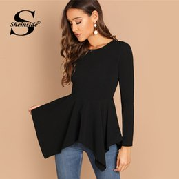 $enCountryForm.capitalKeyWord Australia - wholesale Elegant Office Ladies Long Sleeve T-shirt Women Asymmetrical Hem Peplum Tee Black Shirts 2018 Autumn Womens