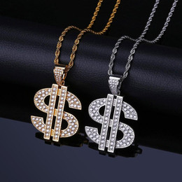 Men Dollar Pendant Australia - Hip Hop US Dollar Pendant Necklace For Men Bling Cubic Zirconia Hiphop Jewelry Gold Plated Necklace