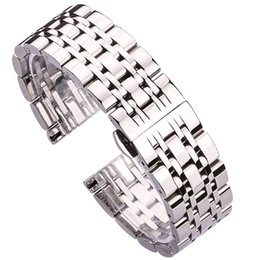 18mm watch bracelet UK - 18mm 20mm 22mm Metal Watchbands Bracelet Silver Polished Stainless Steel Clocks Watch Strap Accessories