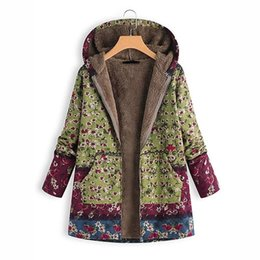 ladies floral print jackets NZ - Winter Women Plus Size Casual Coat Jacket Ladies Oversize Floral Print Coat Hooded Loose Parka Overcoat