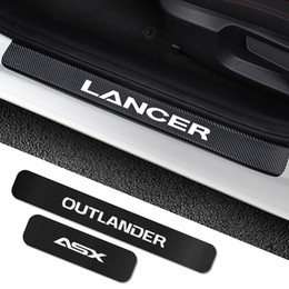 sticker outlander Australia - For Mitsubishi Lancer 10 3 9 EX Outlander 3 ASX L200 Ralliart Competition 4PCS Car Door Sill Plate Stickers Tuning Accessories