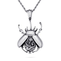 $enCountryForm.capitalKeyWord UK - Egyptian Scarab Beetle with Rhinestones Charms Alloy Pendants Necklaces Antique Jewelry Gift D260 (Necklace 24inch)