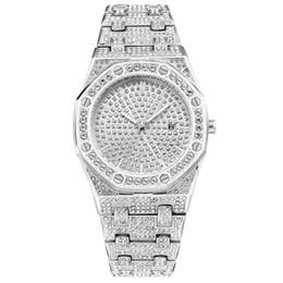 $enCountryForm.capitalKeyWord UK - Bling Diamond Watch For Men Iced Out Luxury Mens Quartz Watches Man Dress Wristwatch Silver Stainless Steel Hot Fashion Relogio Masculino