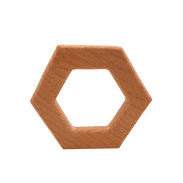 latex toys UK - 4pcs Beech Wooden hexagon shape Teether Wood Pendant Teething Toys Food Grade Materials Organic Chew Gift Baby Teethers