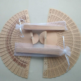 chinese wedding guest gifts NZ - Vintage personalized wedding souvenir gift favor chinese craft hand fan wood fan for guest