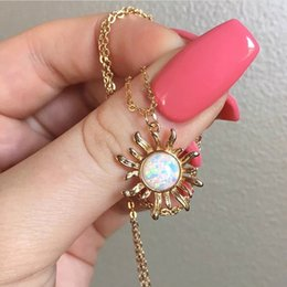 $enCountryForm.capitalKeyWord Australia - Retro Vintage Opal Sunflower Pendant Charm Necklace for Women Girls Gold and Silver Color Gift Jewelry