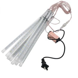 Venta al por mayor de 10 unids impermeable US EU PLUG SMD5050 2835 Meteor Shower driver Rain Tubes AC100-240V LED Luces de Navidad Fiesta de boda Jardín al aire libre