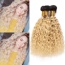 Blonde human hair extensions wefts online shopping - Blonde Ombre Wet and Wavy Human Hair Bundles B Dark Roots Brazilian Virgin Hair Weaves Water Wave Hair Extensions Double Wefts