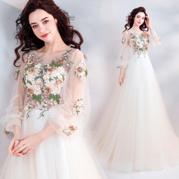 0cb2fbe6201 Fairy Prom Dresses UK - wholesale Fairy Long Prom Dresses 2019 New Light  Champagne Illusion Appliques