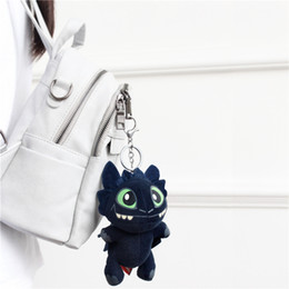 Ring night online shopping - Dragon Trainer Night Fury Toothless Key Ring Short Plush Polypropylene Cotton Manual Trumpet Pendant Party Favor xt E1