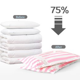 folding pumps Canada - High Quality 7pcs Thick Vacuum Compression Bag with Electric Pump Quilt Clothes Blanket Explosion-proof Dustproof Storage Bags