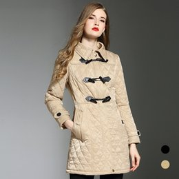 Wholesale Buckle buttoned cotton jacket mid long women s new swinter pecial counter with the same high end women s cotton clothing