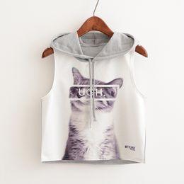 $enCountryForm.capitalKeyWord Australia - 2019 summer new women's etter kitten print hooded short paragraph belly navel sleeveless female T-shirt top