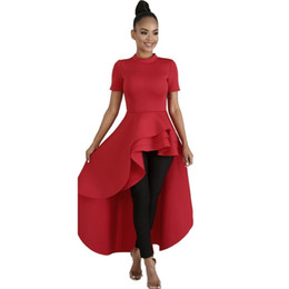 Red Kimonos UK - Clocolor Women Blouse Shirt Plus Size Fashion Ruffle Tails Slim Summer Top Asymmetric Falbala Ladies Long Peplum Party Blouse J190614