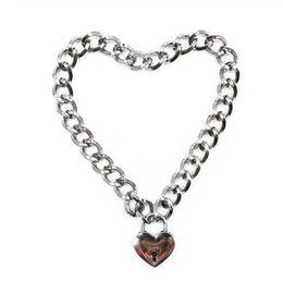 $enCountryForm.capitalKeyWord Australia - 2019 Fashion Women Punk Cool Necklaces Collar Slave Game Pet Heart-Shape Padlock Metal Choker Necklace Link Chain