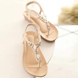 Bohemia Beaded flat online shopping - Women Sandals Flat Casual New Fashion Shoes Beaded Bohemia Leisure Peep Toe Female Comfort Sandals Summer Flip Flops Shoes