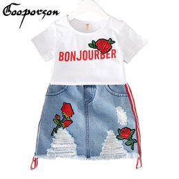 Years old girl jeans online shopping - 2019 New Brand Kids Girl Rose Clothes Set White Shirt With Jean Skirt Fashion Kids Girl Clothes Set Years Old Sets Y190518